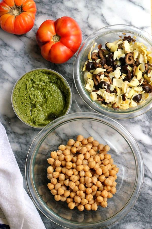 Mediterranean Pesto Chickpea Salad