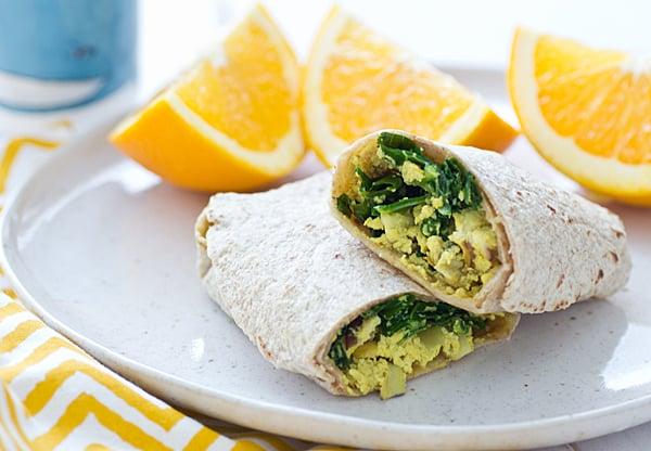 Freezer-Friendly Greens and Tofu Scramble Wraps
