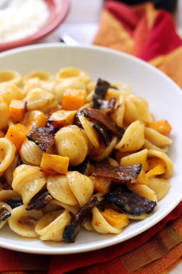 Vegetarian Pasta Carbonara with Roasted Butternut Squash