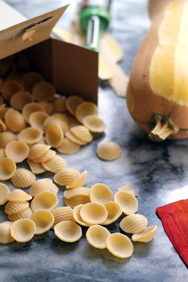Vegetarian Pasta Carbonara with Roasted Butternut Squash