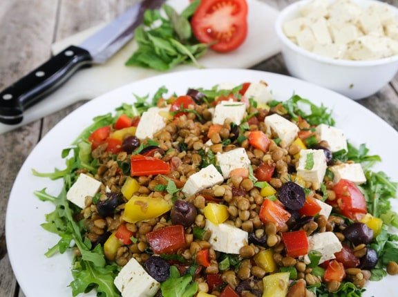 Greek Lentil Salad with Tofu Feta