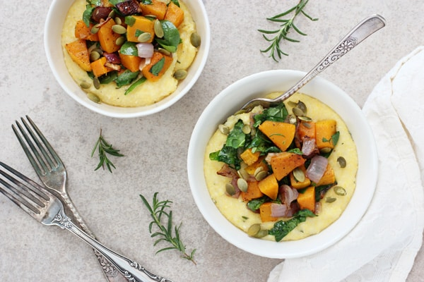 Butternut Squash and Spinach Polenta Bowls