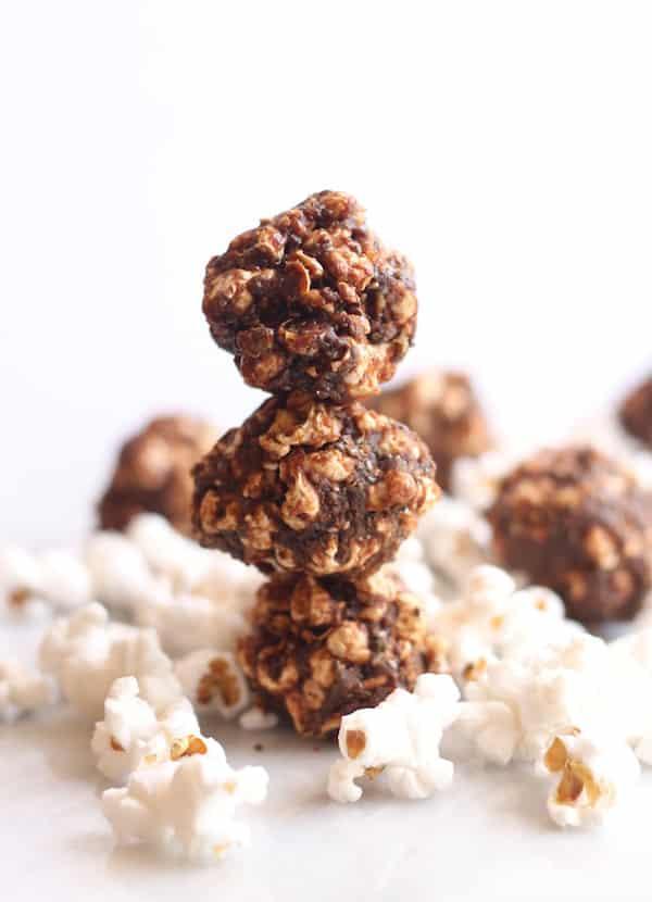 Salted Chocolate Chia Popcorn Balls
