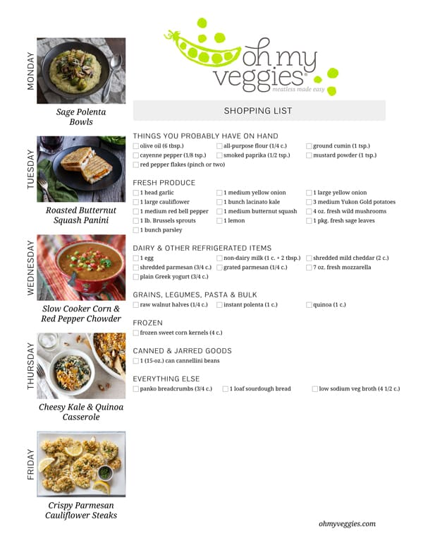 Vegetarian Meal Plan & Shopping List - 10.05.15