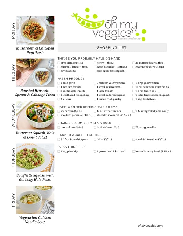 Vegetarian Meal Plan & Shopping List - 10.12.15