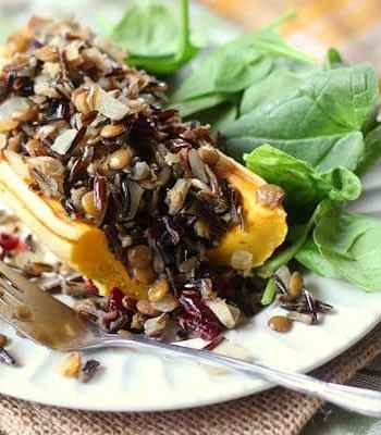 Wild Rice and Lentil & Cranberry Stuffed Delicata Squash