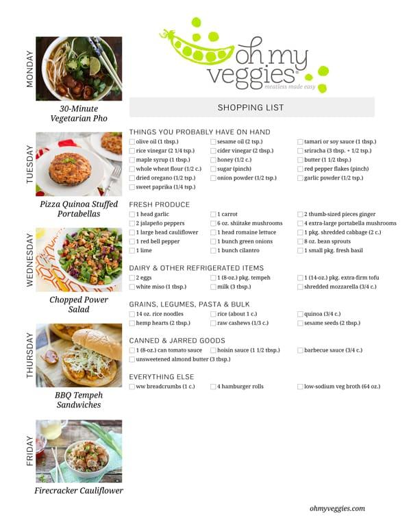 Vegetarian Meal Plan & Shopping List - 11.09.15