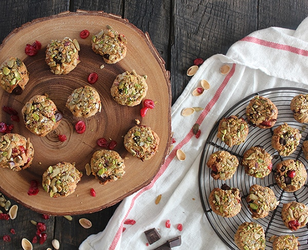 Pistachio-Crusted Chocolate Chip Cranberry Cookies