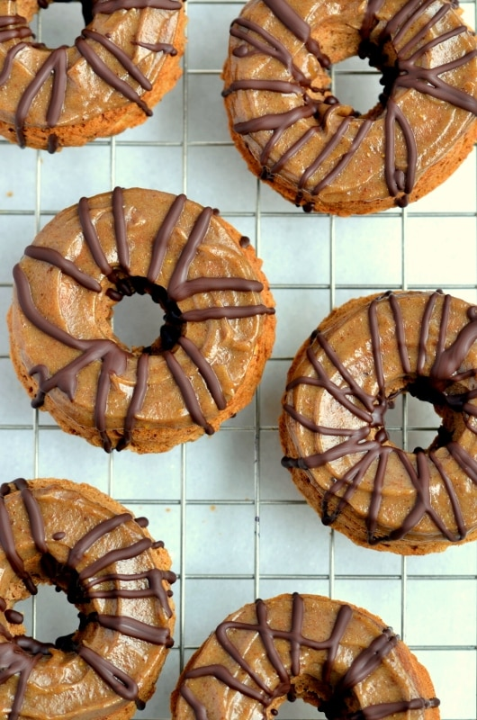 Banana Donuts with Caramel and Chocolate