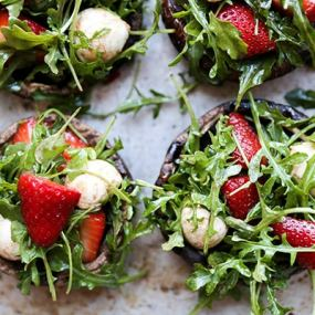 Strawberry Caprese Salad Stuffed Portobella Mushrooms