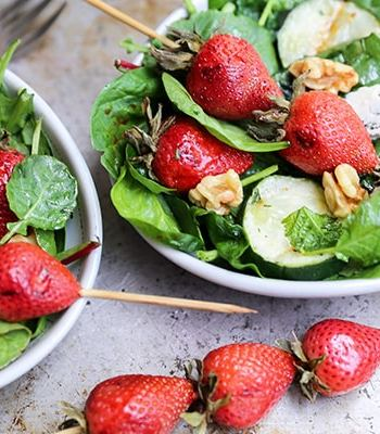 Grilled Strawberry and Cucumber Salad