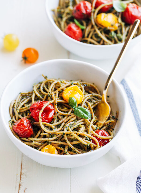 Kale Pesto Pasta with Burst Cherry Tomatoes