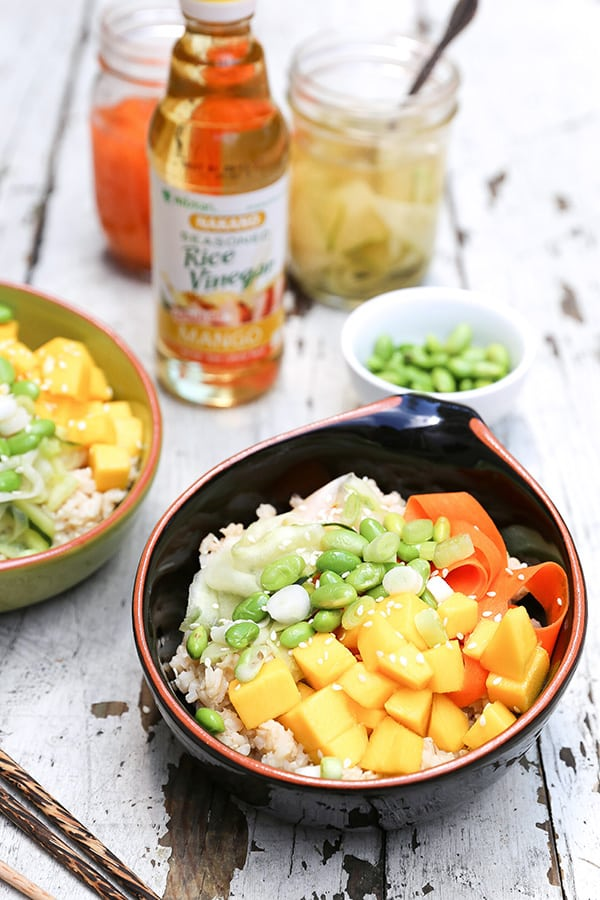 Mango Sushi Bowls with Quick Pickled Vegetables