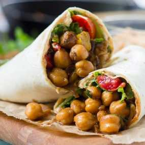 Jerk Chickpea Wraps with Habanero Aioli