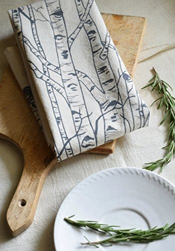 birch tree flour sack towel in charcoal grey handmade kitchen tools