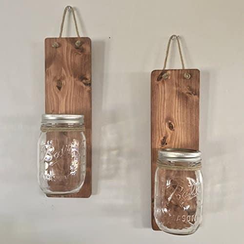 country hanging rustic mason jar wall sconces handmade kitchen tools
