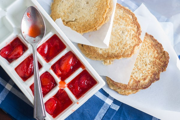 Make & Freeze Quinoa Pancakes with Strawberry Compote