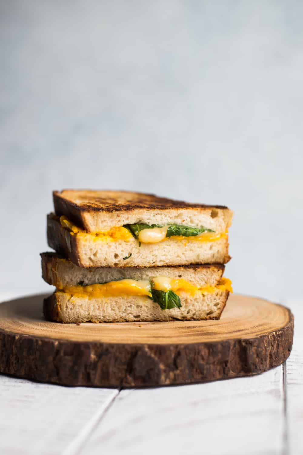 Spinach, Roasted Garlic & Butternut Squash Grilled Cheese Sandwiches
