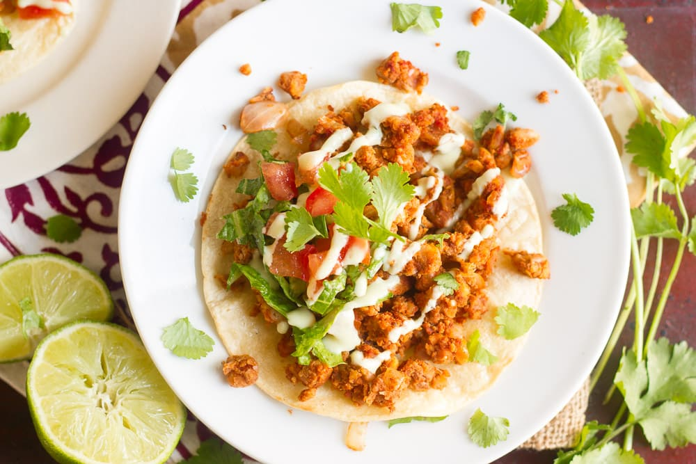 Chickpea Chorizo Tostadas with Avocado Crema