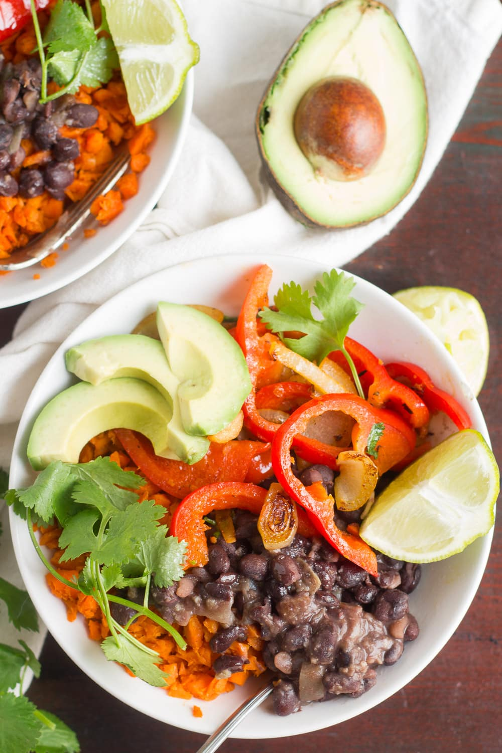Lightened-Up Black Bean Burrito Bowls with Carrot Rice
