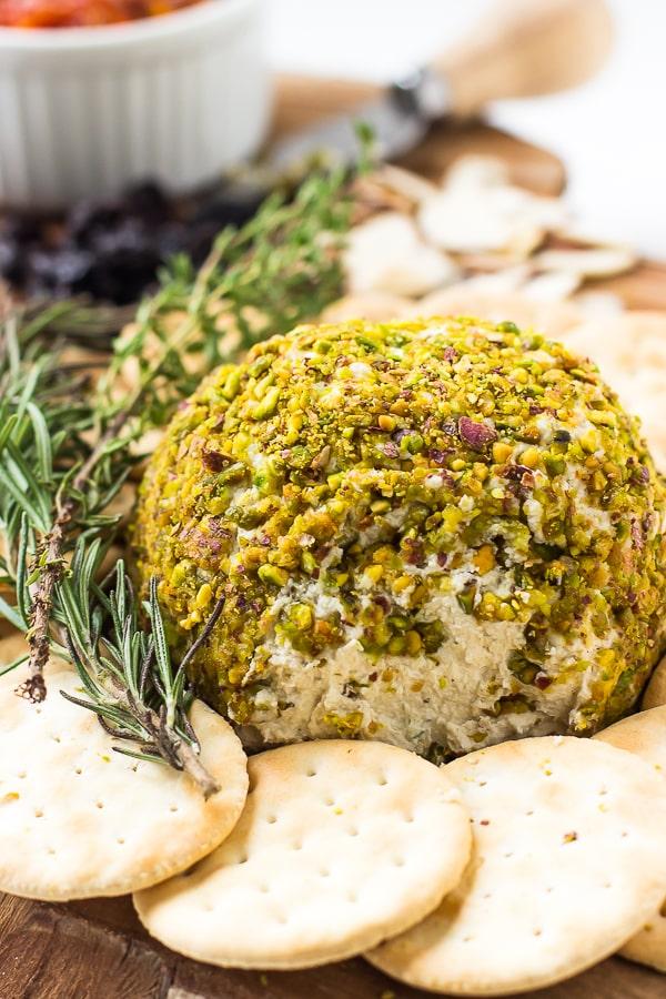 Pistachio Crusted Vegan Cheese Ball