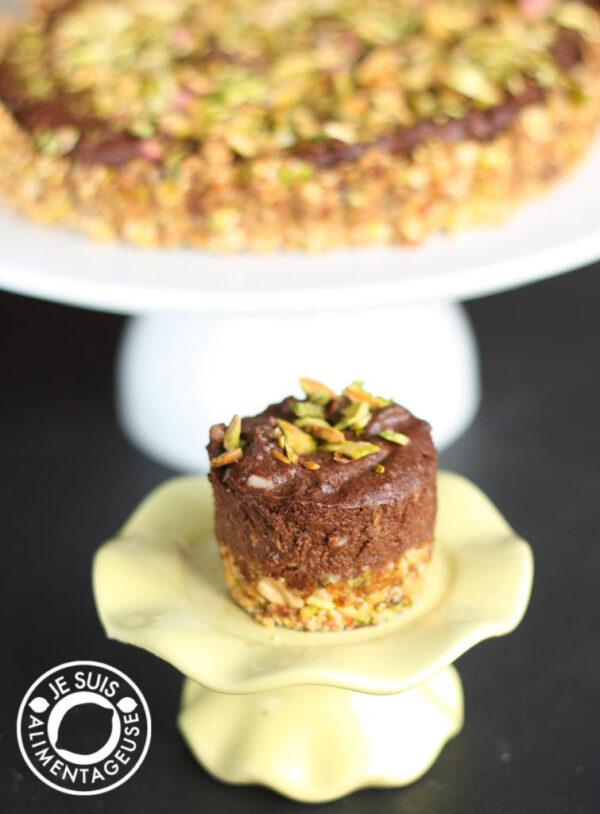 vegan avocado pistachio date chocolate tart