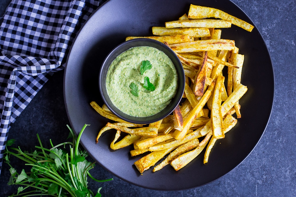 Curried Parsnip Fries with Cilantro Hummus Dip
