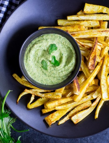 Curried Parsnip Fries with Cilantro Hummus Dip