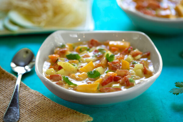 cold tomato mango coconut soup