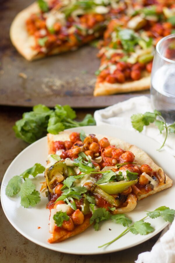 Indian-Inspired Chilli Chickpea Pizza