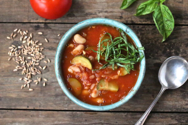tomato soup with zucchini farro and white beans