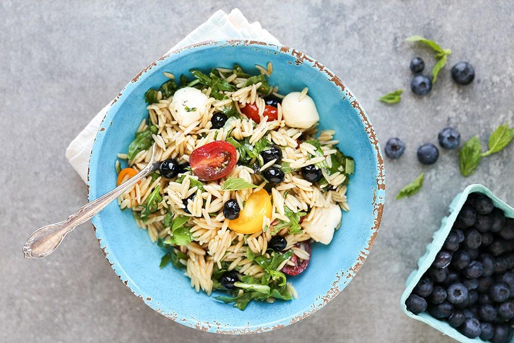 Caprese Orzo Pasta Salad with Blueberries
