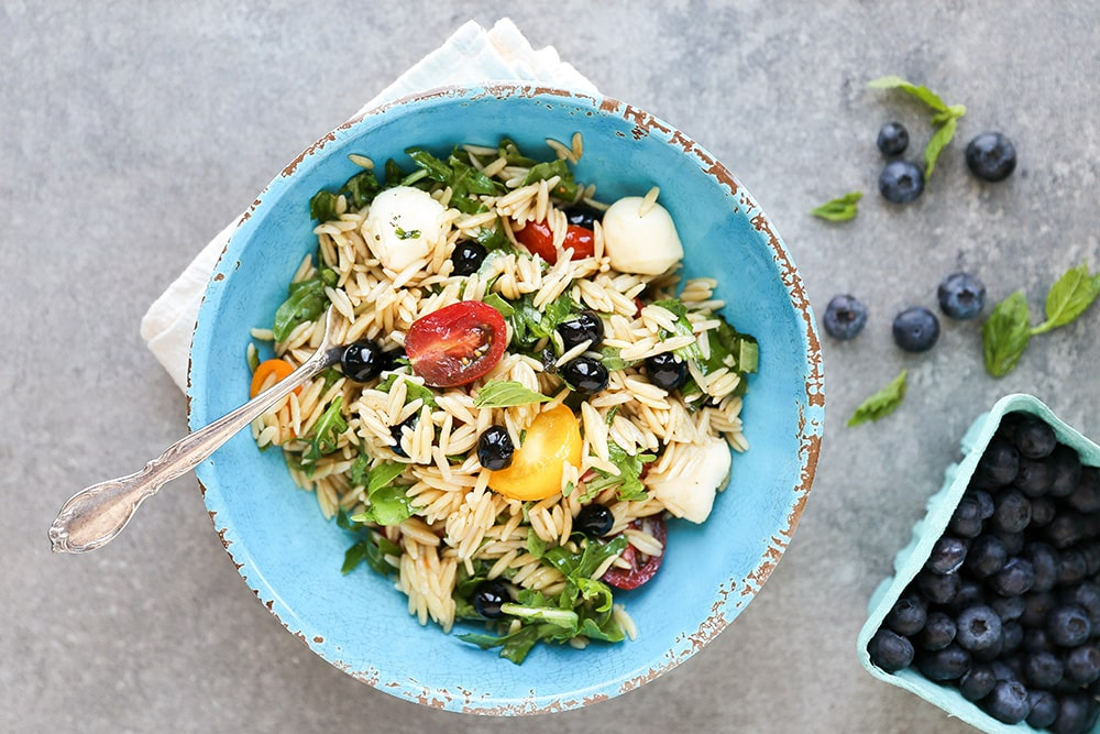 Caprese Orzo Pasta Salad with Blueberries