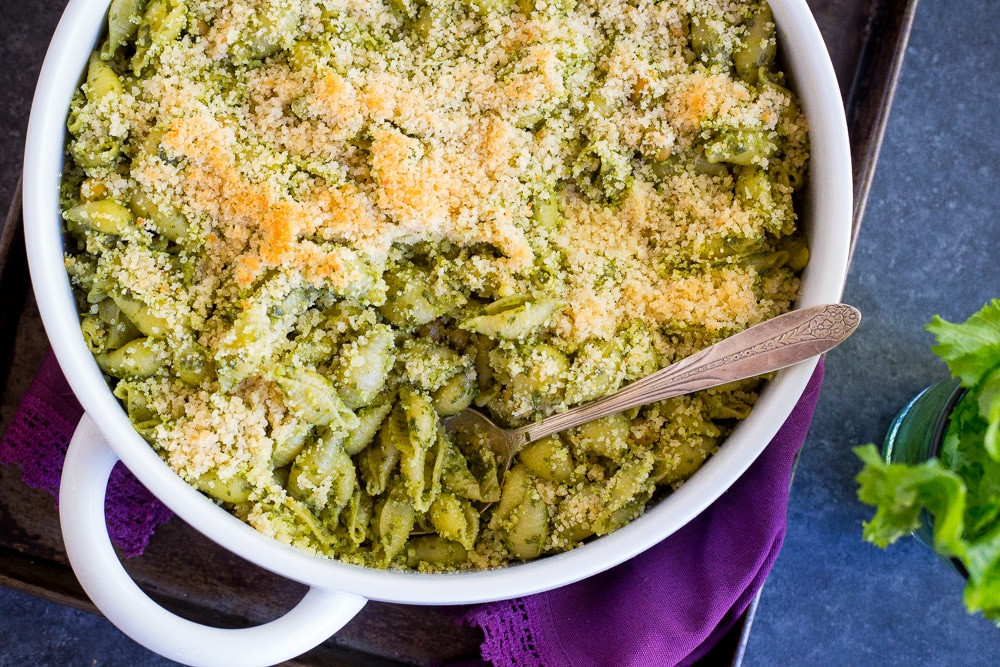 Mustard Green Pesto Pasta with Chickpeas & Crispy Panko Breadcrumbs