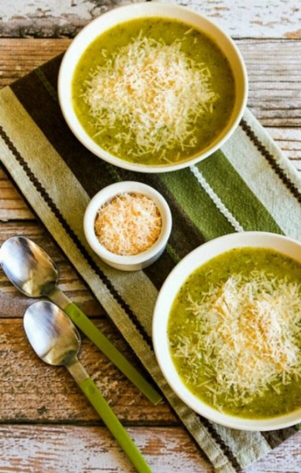zucchini and yellow squash soup with vegan parmesan