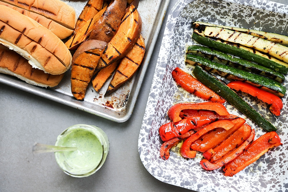 Grilled Sweet Potato and Vegetable Sandwiches