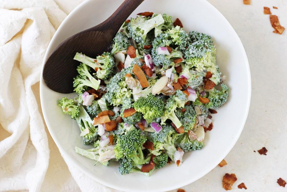 Healthy Broccoli Salad with Coconut Bacon