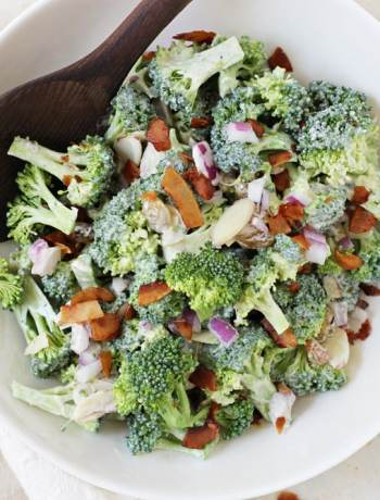 Healthy Broccoli Salad with Coconut Bacon