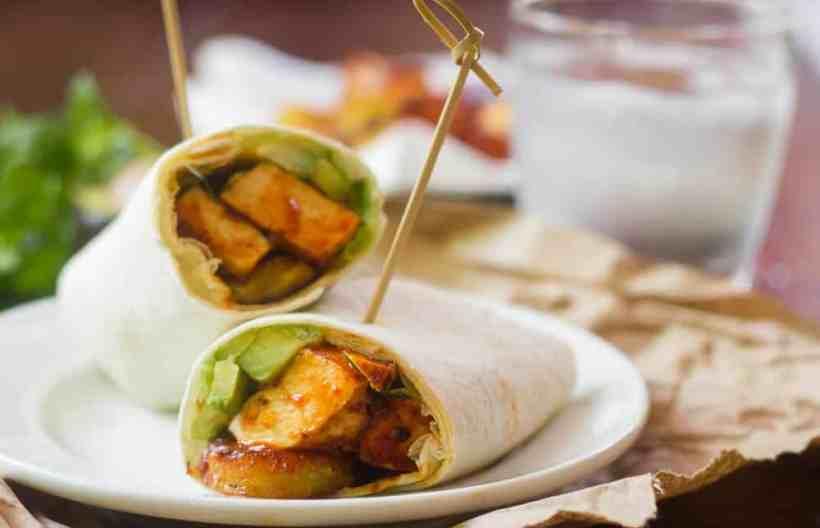 Chipotle Baked Tofu & Plantain Burritos
