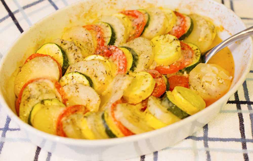 17 of the Best Vegetarian Casseroles: Potato Tomato Squash Bake
