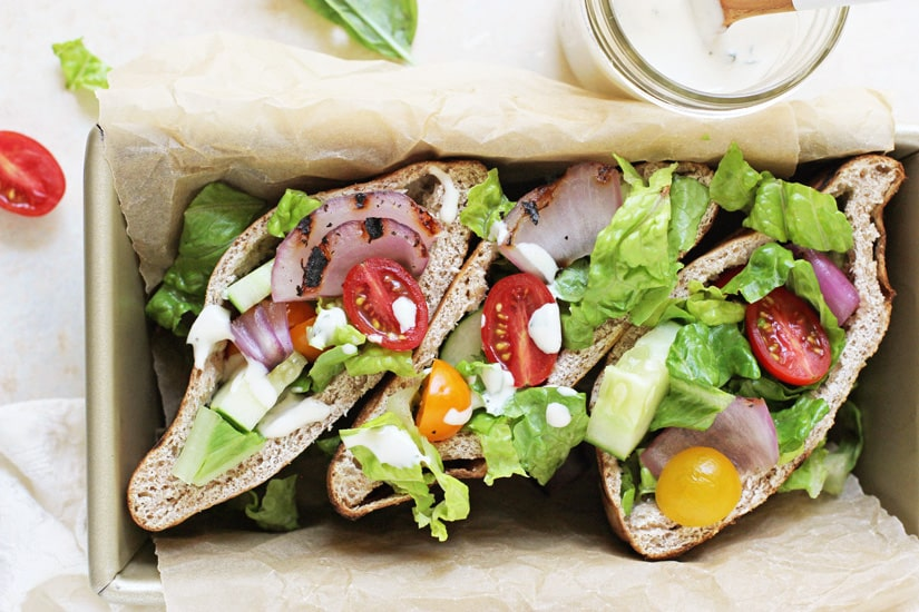 15 of the Best Vegetarian Grilling Recipes: Grilled Greek Salad Pita Sandwiches