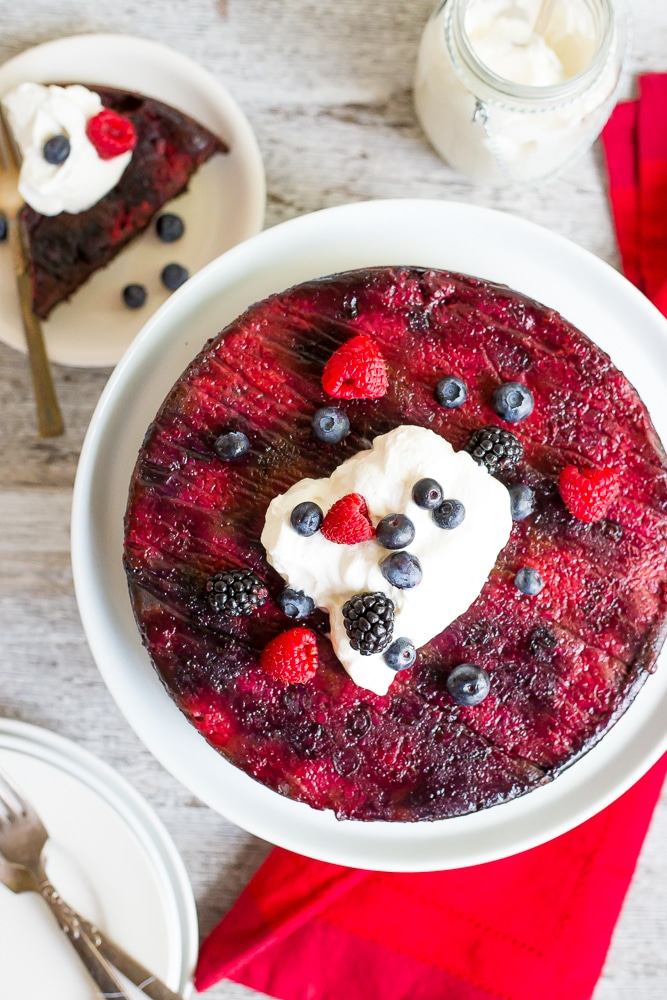 25 Drool-Worthy Chocolate Cake Recipes: Mixed Berry Upside Down Chocolate Cake