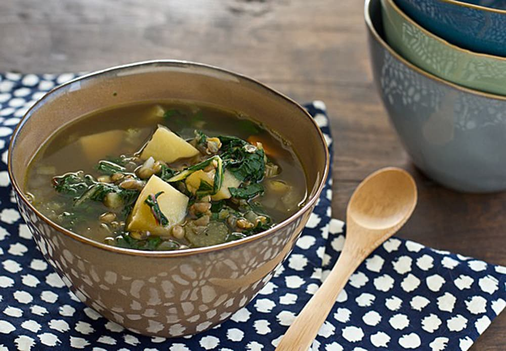 16 vegetarian crock pot freezer meals: chard lentil and potato slow cooker soup