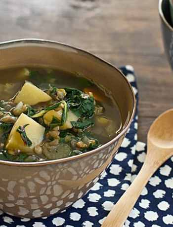 16 vegetarian crock pot freezer meals: chard lentil and potato slow cooker soup