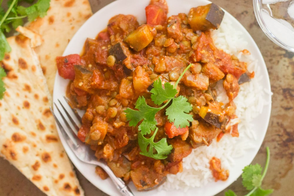 Indian-Inspired Lentil & Eggplant Curry By OhMyVeggies.com