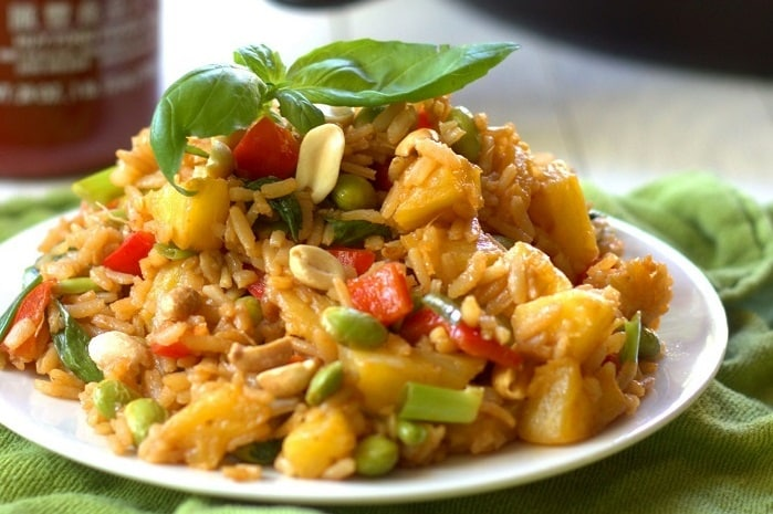 Pineapple Fried Rice with Peanuts & Basil