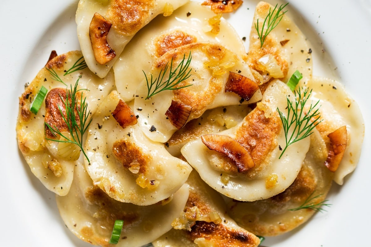 Vegan Pierogi with Coconut Bacon