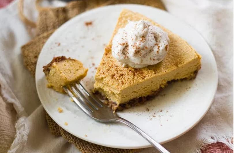 15 Recipes That Take New York Cheesecake to the Next Level: No-Bake Vegan Pumpkin Cheesecake with Pecan Date Crust