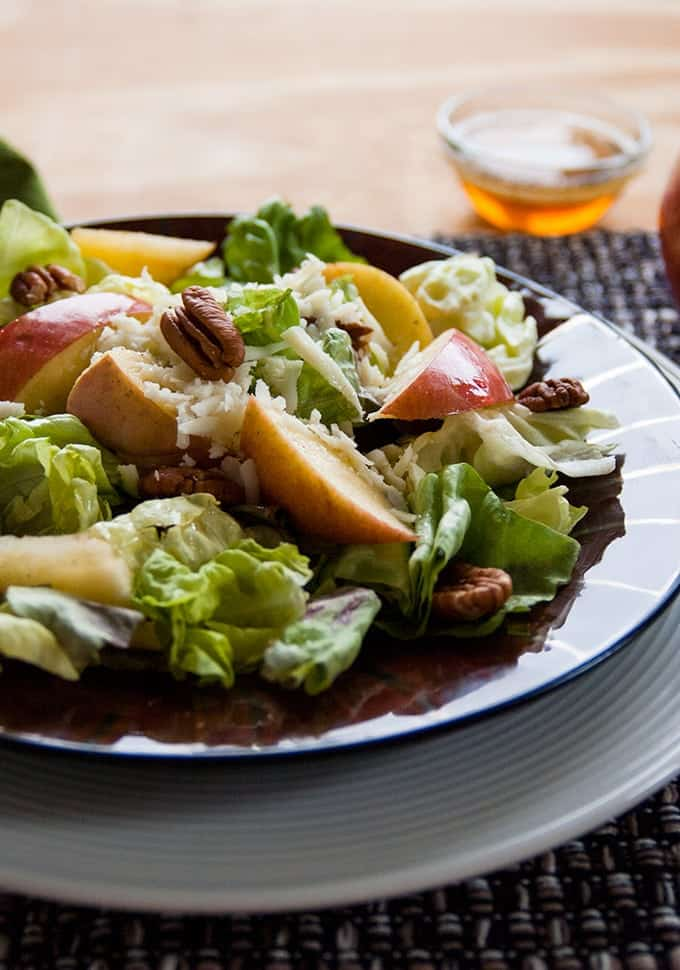 20 Savory Apple Recipes to Try This Fall: Apple Mozarella and Pecan Salad with Maple Vinaigrette