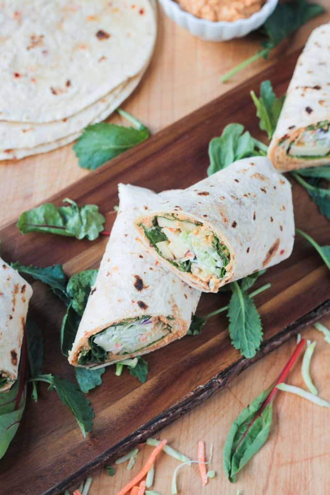 20 Savory Apple Recipes to Try This Fall: Broccoli Slaw Veggie Wrap with Spicy Hummus